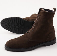 New $1195 ISAIA Chocolate Brown Suede Ankle Boots w/ Shearling Lining 12.5 Shoes