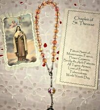 """NEW Hand-Made """"ST THERESA"""" CHAPLET  Rose Crystal 8 mm Beads, Prayer Booklet & HC"""