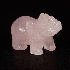 "2"" Carved Rose Quartz Elephant Animal figurine reiki chakra wealth Fengshui"