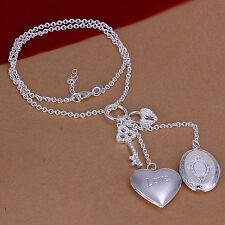 Damenhalskette Herz Medallion Schmuck 45cm Halskette Kette pl. Sterlingsilber