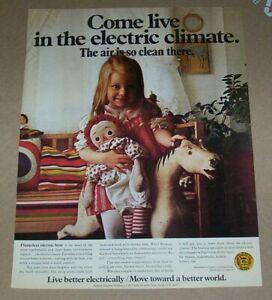 1971 print ad - Edison Electric Heat cute Little GIRL raggedy ann doll Advert