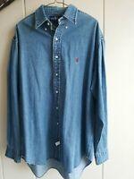 Vtg Ralph Lauren Mens Size L Blue Buttonup Long Sleeve Shirt Red Pony Cotton