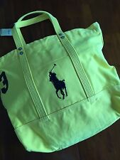 POLO RALPH LAUREN  Canvas Bright Yellow Black Ponny Rugby Tote ( one size ) $ 98