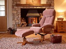 Elegant Fabric Swivel Recliner Chair and Matching Footstool in Fawn/cherry