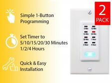 2 Wall Light Timer Switches 5-10-15-20-30 Minute, 1-2-4 Hour Automatic Countdown