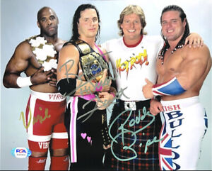 WWE RODDY PIPER BRET HART AND VIRGIL HAND SIGNED 8X10 PHOTO WITH PSA COA LOA