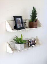 Set of Two Large White Floating Shelves