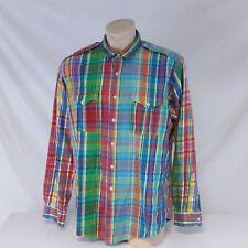 Vintage Polo Ralph Lauren Button Down Shirt Patchwork Colorblock Military XXL