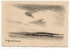 gravure lithographie par Jacques SIMON.Ciel et mer.format carte.Carolles Manche