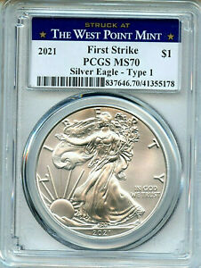 2021 West Point Mint ASE PCGS MS70 Coin FS Silver Eagle Dollar Amricons Type 1