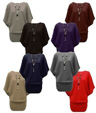 WOMENS BATWING KNITTED BAGGY TOP JUMPER OVERSIZE LADIES LONG SLEEVE PLAIN TUNIC