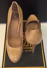NEW Sz 9.5 POUR LA VICTOIRE Irina Platform Pump Camel Patent Leather Heel Shoes