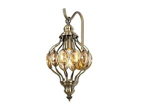 Traditional Crystal Wall Light Antique Brass Moroccan Modern Hanging Oval Design