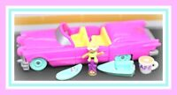 ❤️Polly Pocket Vintage 1995 Pool Party On the Go Car COMPLETE Doll Bluebird❤️