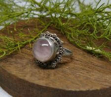 Vintage Sterling silver and rose quartz ring - sz 6.5
