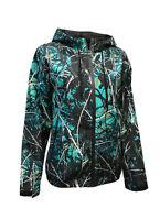 Womens Camo Windbreaker Jacket w/ Hood   Muddy Girl Serenity Blue & Black Design
