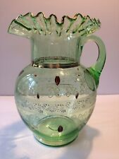 Victorian Ruffled Green Glass Pitcher Enameled Flowers Gold Trim