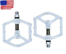 Magnesium alloy Road MTB XC Bike Pedals flat Pedal Carbon tube 3 bearings White