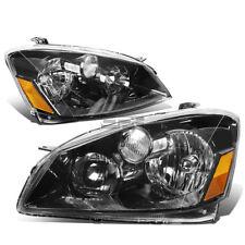 Fit 2005-2006 Nissan Altima Pair Black Housing Amber Corner Headlight/Lamp Set