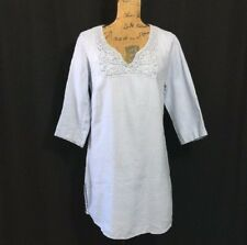 Malvin Dress 100% Linen Blue Large 10 Crochet 3/4 Sl Pullover Tunic Long Shirt