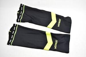 Verge Men's Triumph Fleece Cycling Knee Warmers, Black/Grey/Yellow, S Brand New