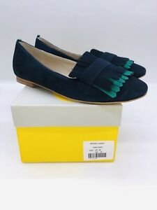 Boden Women's Melody Slip On Loafers Navy & Forest Suede US 7.5
