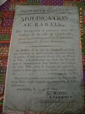 affiche originale Collège de Rimbaud 1831 sur papier bleu
