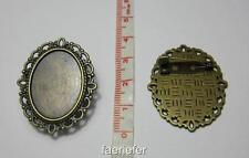 2 brooch pin back setting oval pendant frames for 18 x 25 mm cabochons bronze