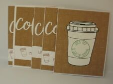 Coffee Themed Greeting Cards Note Cards Blank Inside set of 5 homemade handmade