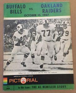 VINTAGE 1967 AFL NFL OAKLAND RAIDERS @ BUFFALO BILLS FOOTBALL PROGRAM - OCT 15