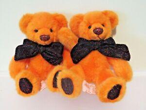 "Russ Halloween Teddy Bear Pair Punkie Orange 7"" Plush w/ Glittery Black Feet"