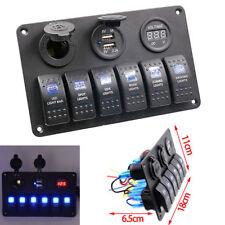 Barco 6 Gang Interruptor Panel Voltímetro LED interruptor de circuito coche 12V/24V Marina