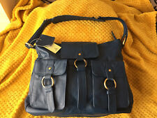 Tommy & Kate Large Leather Messenger Weekend Bag In Blue Bnwt