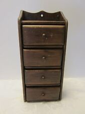 "Vintage Wall Hanging Wood Spice storage Cabinet 4 drawers Primitive 11 ½"" tall"