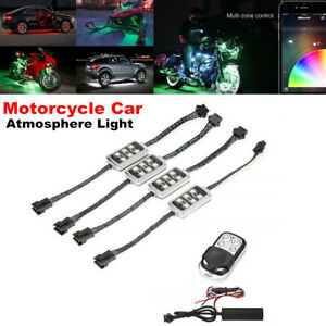 4PCS RGB LED Atmosphere Light Wireless Remote Smart Brake Light Motorcycle Car