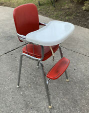 """Vintage """"Heavy Duty"""" Chrome Red COSCO Mid Century Relic High Chair"""