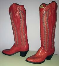 LARRY MAHAN WOMEN'S FLAME RED COWBOY BOOTS 5.5 TALL VINTAGE WESTERN ROCKABILLY