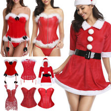 Sexy Christmas Mrs. Claus Santa Costume Bustier Boned Corset Top Party Outfit UK