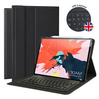 """2018 iPad Pro 12.9"""" 3rd Gen Bluetooth UK Keyboard Leather Cover Case with Stand"""