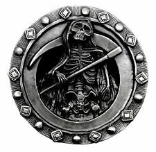 Grim Reaper Belt Buckle Death Skeleton Skull Heavy Gothic Bones Authentic Pagan