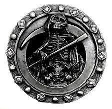 Grim REAPER Muerte Esqueleto Cráneo pesado hebilla de cinturón gótico huesos auténtico Pagano