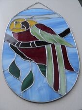 Large Stained art glass Parrot Bird. 21 inches tall. Very NICE
