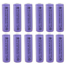12 x AA 2A 3000 (Actual 300mAh) 1.2V Ni-MH NiMH Rechargeable Battery Cell Purple