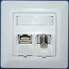 Netzwerk-Dose mit Cat.6a LAN (500 MHz 10 GB) + SAT Antenne F Keystone Modul UP