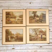 Pimpernel Vintage Cork Backed Placemat Set Of 4 Beige Pioneer Prairie Women