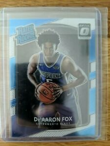 De'aaron Fox Donruss Optic Rated Rookie blue silver