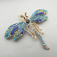 Women's Blue Crystal Enamel Dragonfly Betsey Johnson Brooch Pin