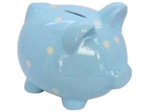 Piggy BankGisela Graham Large Blue Polka Dot  Ceramic Baby Boy Money Box