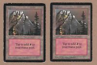 MTG - 2X Mountain (A) X2 - Beta Edition - G/Very Heavily Played - 2 Cards Land