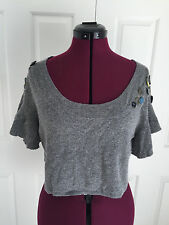 Anthropologie Cartonnier Gray Wool Blend Cropped Ruffle Sleeve Knit Top Sz L NWT